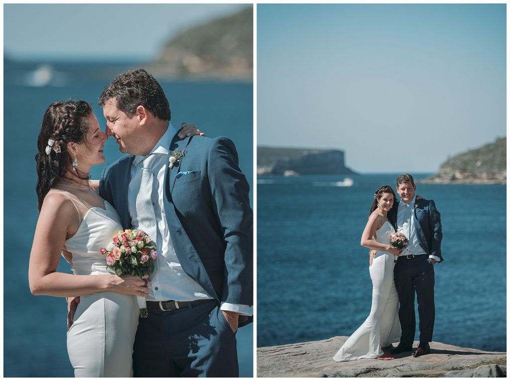Hsban-and-wife-wedding-kiss-photo-in-balmoral-Beach-sydney-harbour-view-photo