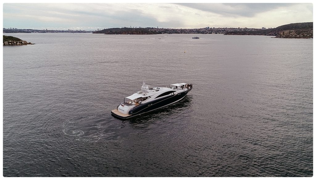sydney drone photo wedding boat photo
